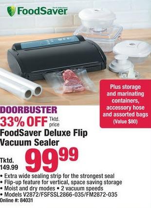 Boscov's Black Friday: FoodSaver V2872/FSFSSL2866-035/FM2872-035 Deluxe Flip Vacuum Sealer for $99.99