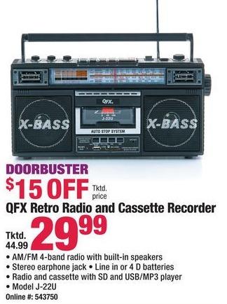 Boscov's Black Friday: QFX J-22U Retro Radio and Cassette Recorder for $29.99