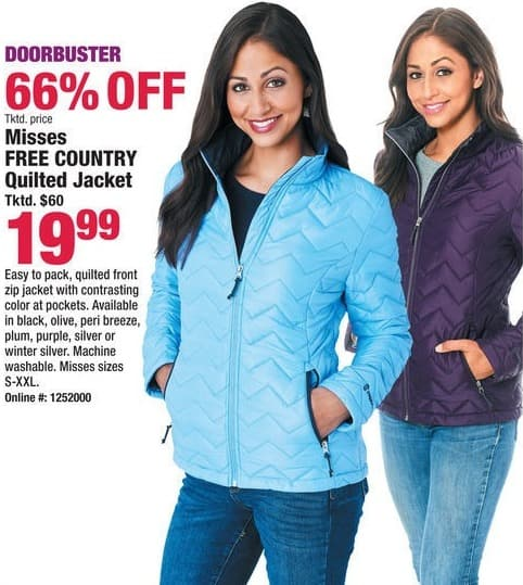 Boscov's Black Friday: Misses Free Country Quilted Jacket for $19.99