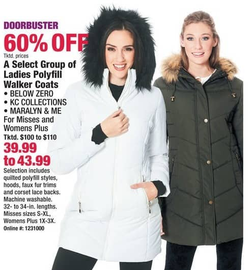 Boscov's Black Friday: Select Ladies Polyfill Walker Coats from Below Zero, KC Collections and More for $39.99 - $43.99