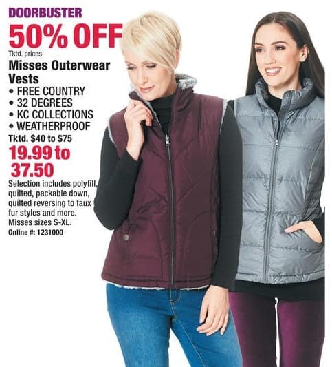 Boscov's Black Friday: Select Misses Outerwear Vests for $19.99 - $37.50