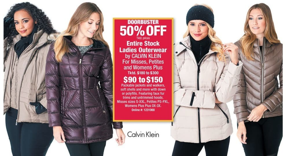 Boscov's Black Friday: Entire Stock Calvin Klein Ladies Outerwear for $90.00 - $150.00