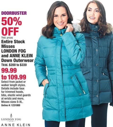 Boscov's Black Friday: Entire Stock Misses London Fog and Ann Klein Down Outerwear for $99.99 - $109.99