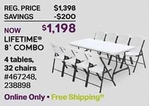 Sam's Club Black Friday: Lifetime Outdoor Furniture Set: Includes Four 8-foot Tables and 32 Chairs for $1,198.00