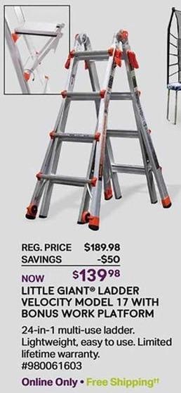 Sam's Club Black Friday: Little Giant Ladder Velocity Model 17 w/Bonus Work Platform for $139.98