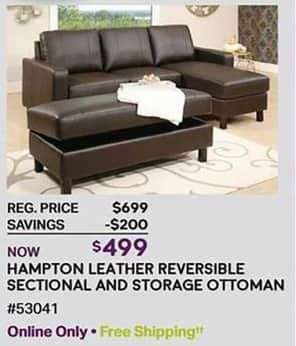 Sam's Club Black Friday: Hampton Leather Reversible Sectional and Storage Ottoman for $499.00