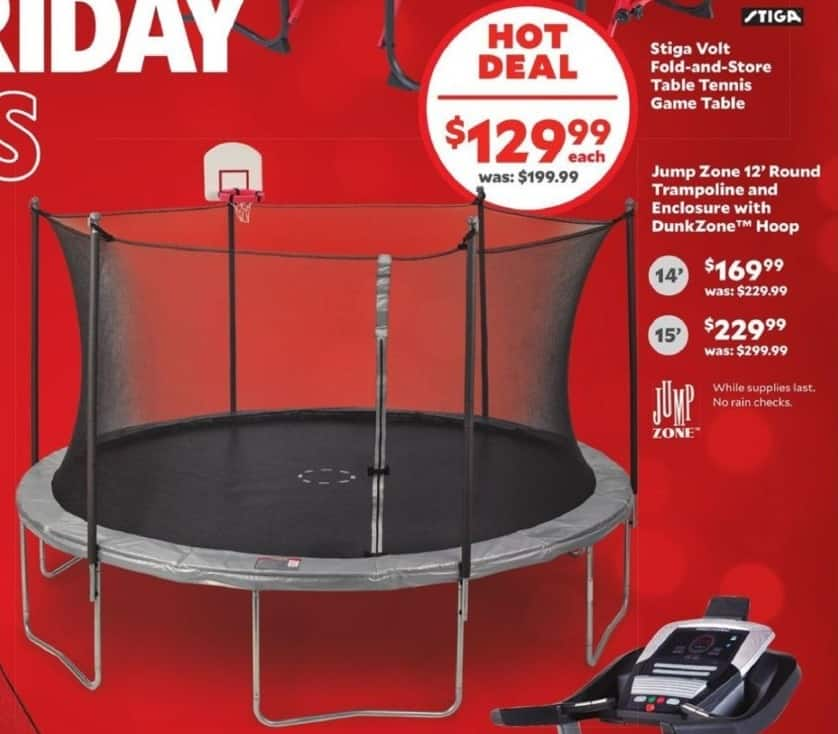 Academy Sports + Outdoors Black Friday: Jump Zone 14' Round Trampoline and Enclosure w/DunkZone Hoop for $169.99