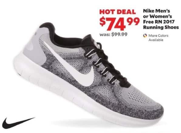 Academy Sports + Outdoors Black Friday: Nike Men's and Women's Free RN 2017 Running Shoes for $74.99
