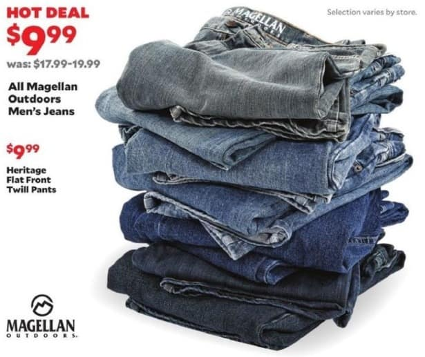 Academy Sports + Outdoors Black Friday: Entire Stock Magellan Outdoors Men's Jeans for $9.99