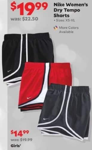 Academy Sports + Outdoors Black Friday: Nike Women's Dry Tempo Shorts for $19.99