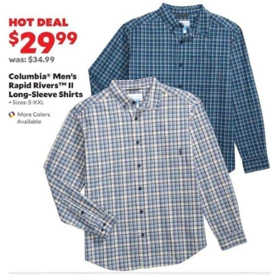 Academy Sports + Outdoors Black Friday: Columbia Men's Rapid Rivers II Long-Sleeve Shirts for $29.99