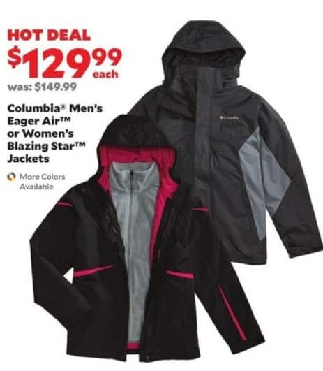 Academy Sports + Outdoors Black Friday: Columbia Men's Eager Air or Women's Blazing Star Jackets for $129.99