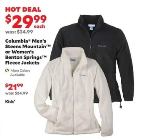 Academy Sports + Outdoors Black Friday: Columbia Men's Steens Mountain or Women's Benton Springs Fleece Jackets for $29.99