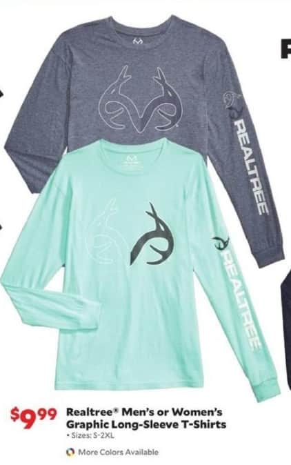 Academy Sports + Outdoors Black Friday: Realtree Men's or Women's Graphic Long-Sleeve T-Shirts for $9.99