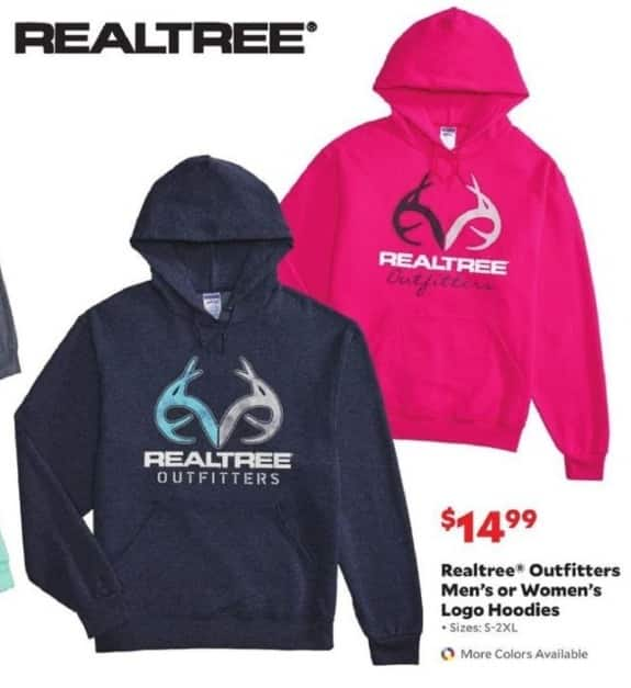 Academy Sports + Outdoors Black Friday: Realtree Outfitters Men's or Women's Logo Hoodies for $14.99