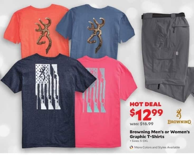 Academy Sports + Outdoors Black Friday: Browning Mens or Womens Graphic T-Shirts for $12.99