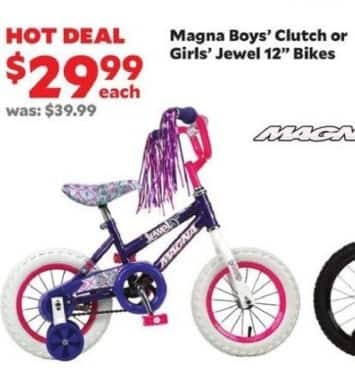 """Academy Sports + Outdoors Black Friday: Magna Boys' Clutch or Girls' Jewel 12"""" Bikes for $29.99"""