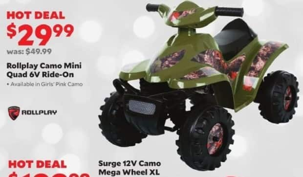 Academy Sports + Outdoors Black Friday: Rollplay Camo Mini Quad 6V Ride-On for $29.99