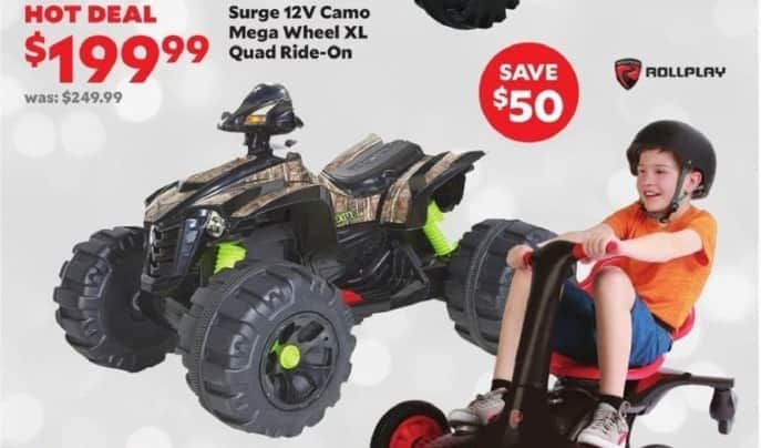 Academy Sports + Outdoors Black Friday: Surge 12V Camo Mega Wheel XL Quad Ride-On for $199.99