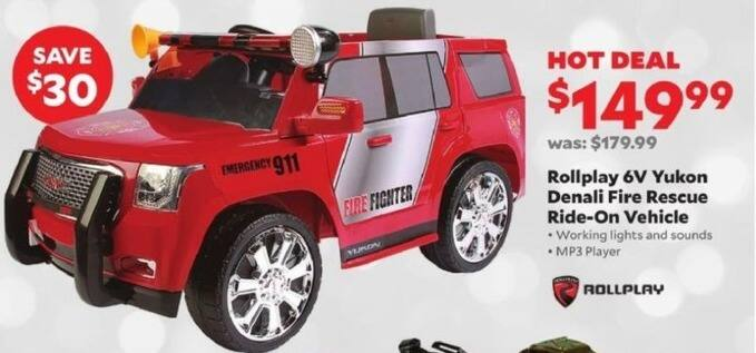 Academy Sports + Outdoors Black Friday: Rollplay 6V Yukon Denali Fire Rescue Ride-On Vehicle for $149.99