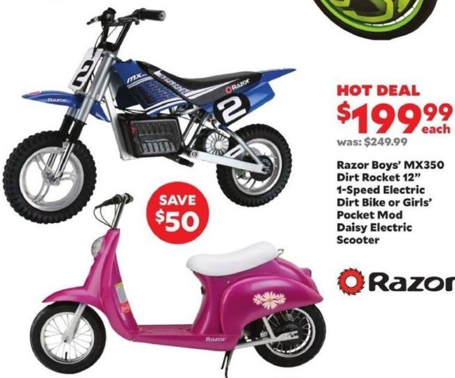 "Academy Sports + Outdoors Black Friday: Razor Boys' MX350 Dirt Rocket 12"" 1-Speed Electric for $199.99"