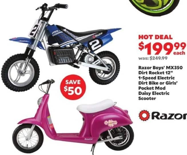Academy Sports + Outdoors Black Friday: Razor Girls Pocket Mod Daisy Electric Scooter for $199.99