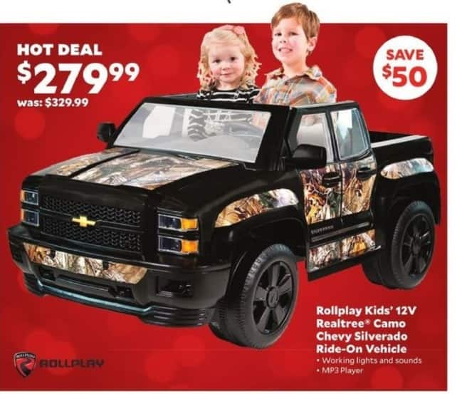 Academy Sports + Outdoors Black Friday: Rollplay Kids' 12V Realtree® Camo Chevy Silverado Ride-On Vehicle for $279.99
