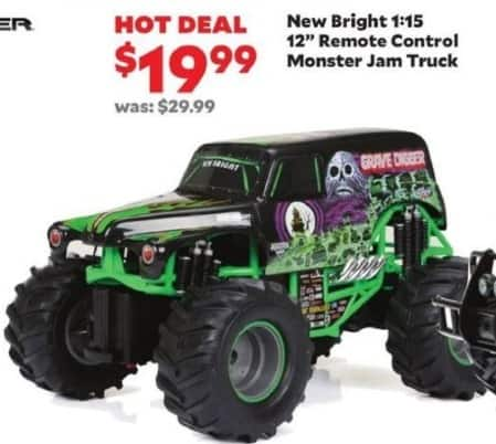 "Academy Sports + Outdoors Black Friday: New Bright 1:15 12"" Remote Control Monster Jam Truck for $19.99"