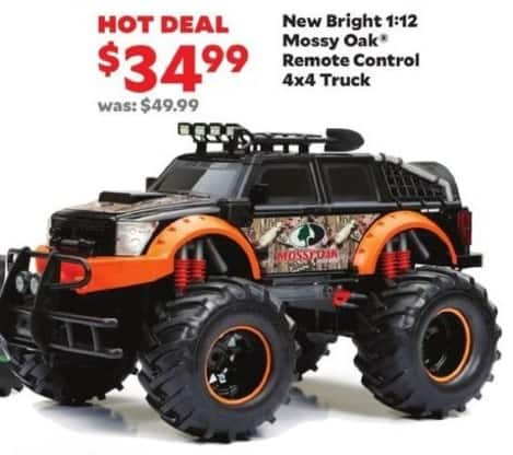 Academy Sports + Outdoors Black Friday: New Bright 1:12 Mossy Oak® Remote Control 4x4 Truck for $34.99