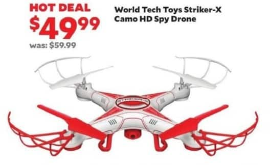 Academy Sports + Outdoors Black Friday: World Tech Toys Striker-X Camo HD Spy Drone for $49.99