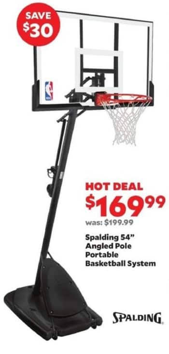 """Academy Sports + Outdoors Black Friday: Spalding 54"""" Angled Pole Portable Basketball System for $169.99"""