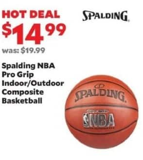 Academy Sports + Outdoors Black Friday: Spalding NBA Pro Grip Indoor/Outdoor Composite Basketball for $14.99