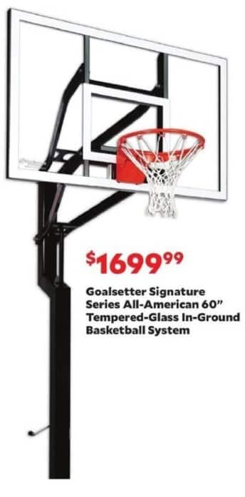"Academy Sports + Outdoors Black Friday: Goalsetter Signature Series All-American 60"" Tempered-Glass In-Ground Basketball System for $1,699.99"
