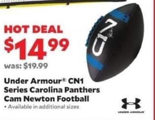 Academy Sports + Outdoors Black Friday: Under Armour CN1 Series Carolina Panthers Cam Newton Football for $14.99