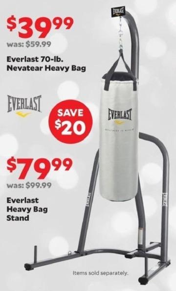 Academy Sports + Outdoors Black Friday: Everlast 70-lb. Nevatear Heavy Bag for $39.99