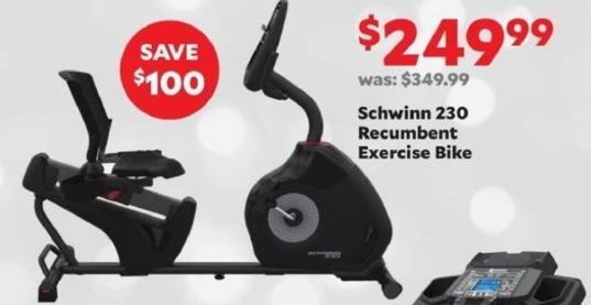 Academy Sports + Outdoors Black Friday: Schwinn 230 Recumbent Exercise Bike for $249.99