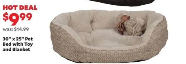 """Academy Sports + Outdoors Black Friday: 30"""" x 25"""" Pet Bed with Toy and Blanket for $9.99"""