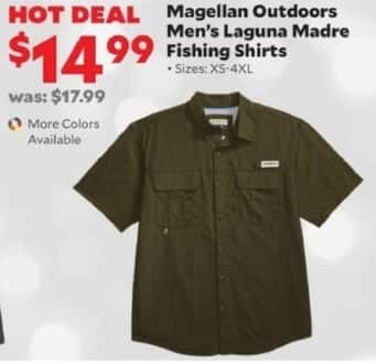 Academy Sports + Outdoors Black Friday: Magellan Outdoors Men's Laguna Madre Fishing Shirts for $14.99