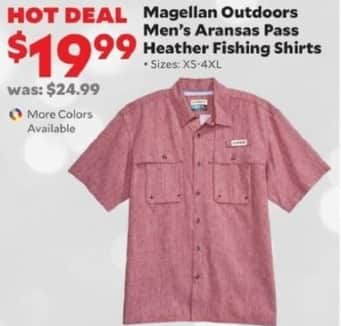 Academy Sports + Outdoors Black Friday: Magellan Outdoors Men's Aransas Pass Heather Fishing Shirts for $19.99