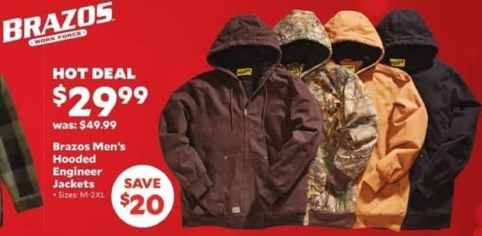 Academy Sports + Outdoors Black Friday: Brazos Men's Hooded Engineer Jackets for $29.99