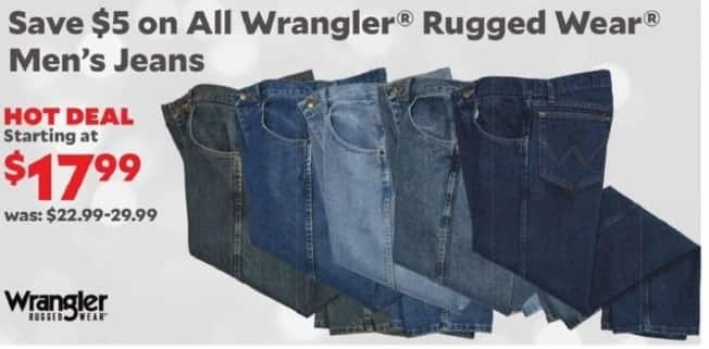 Academy Sports + Outdoors Black Friday: Entire Stock Wrangler Rugged Wear Men's Jeans for $17.99