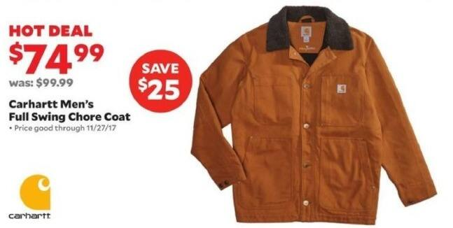 Academy Sports + Outdoors Black Friday: Carhartt Men's Full Swing Chore Coat for $74.99