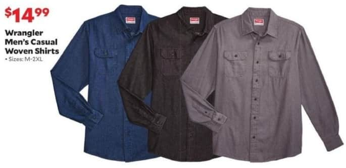 Academy Sports + Outdoors Black Friday: Wrangler Men's Casual Woven Shirts for $14.99