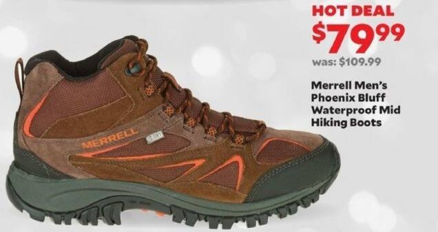 Academy Sports + Outdoors Black Friday: Merrell Men's Phoenix Bluff Waterproof Mid Hiking Boots for $79.99