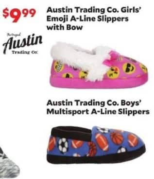 Academy Sports + Outdoors Black Friday: Austin Trading Co. Girls' Emoji A-Line Slippers with Bow for $9.99