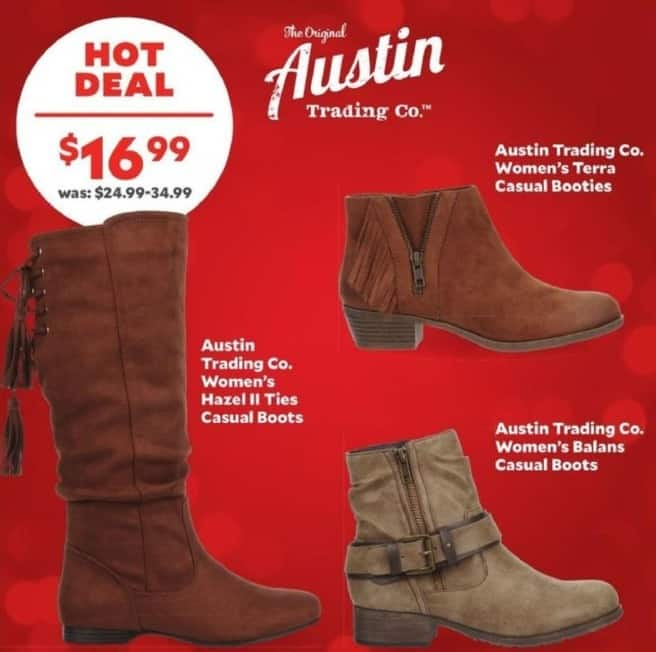 Academy Sports + Outdoors Black Friday: Austin Trading Co. Women's Hazel II Ties Casual Boots for $16.99
