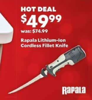 Academy Sports + Outdoors Black Friday: Rapala Lithium-Ion Cordless Fillet Knife for $49.99