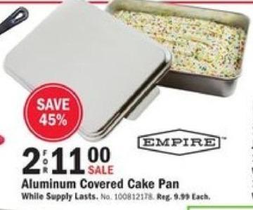 Mills Fleet Farm Black Friday: (2) Empire Aluminum Covered Cake Pan for $11.00