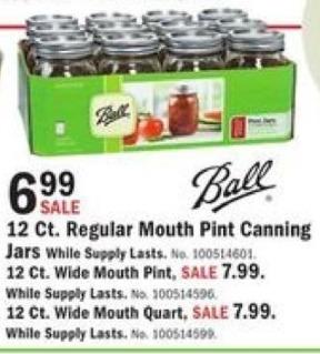 Mills Fleet Farm Black Friday: Ball 12 Ct. Regular Mouth Pint Canning Jars for $6.99