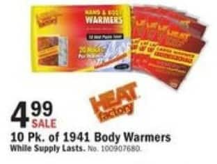 Mills Fleet Farm Black Friday: 10 Pk. of 1941 Body Warmers for $4.99